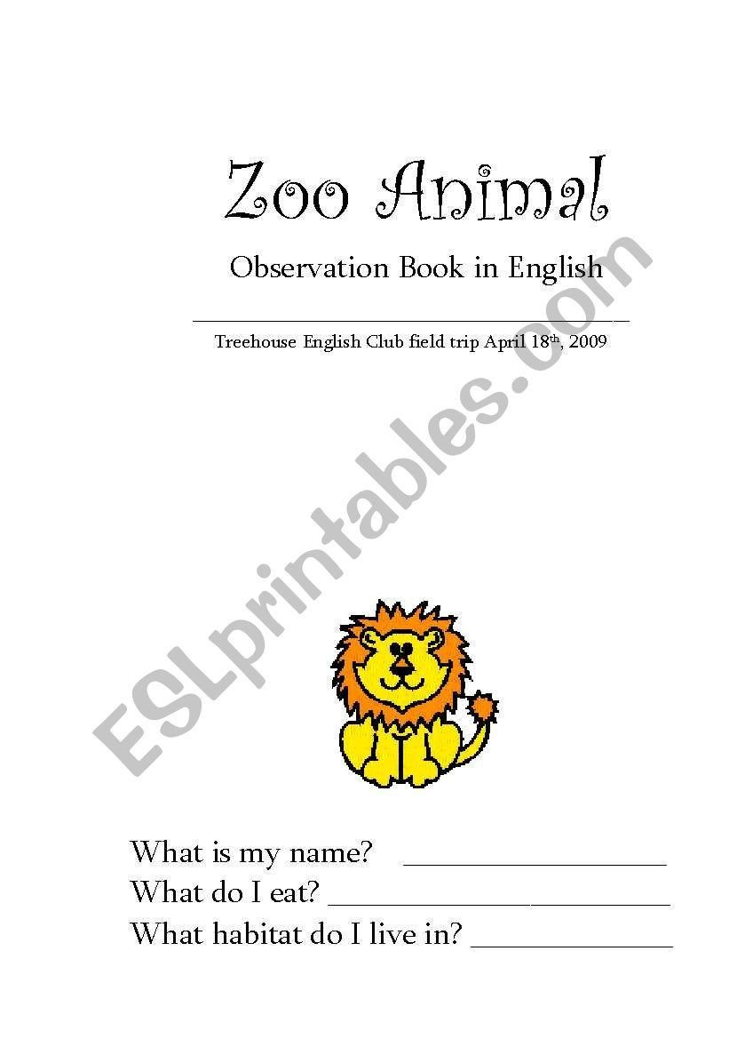 Zoo Field Trip Worksheet English Worksheets Zoo Animal Observation Booklet Field Trip Kids Worksheets Printables First Grade Worksheets