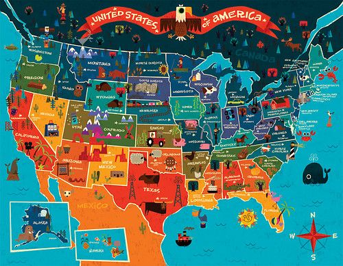 Pretty Us Cartoon Map By Johnny Yahok Love This Style Maps