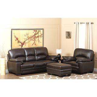 Abbyson Living Charleston Premium Top Grain Leather Sofa, Armchair And  Ottoman Set $1,871.99