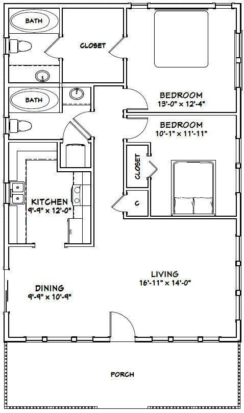 2 Bedroom Bi Level Home With Open Living: 28X40 HOUSE -- 2 Bedroom 2 Bath -- PDF Floor Plan -- 1,120