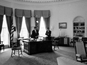 jfk oval office. President John F. Kennedy In Oval Office With Brother, Attorney General Robert By Art Rickerby Jfk