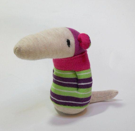 sock rat, striped green plush baby toy, stuffed baby rat
