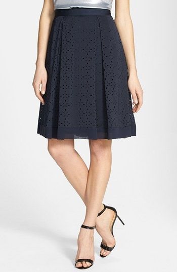 eyelet navy pleated midi skirt {40% now during Nordstrom's Half Yearly Sale!!}