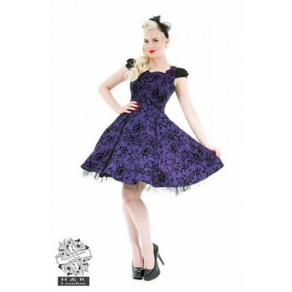 Purple flocking tattoo dress