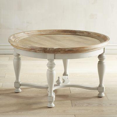 Amelia Natural Stonewash Round Coffee Table Round Wood Coffee Table Coffee Table Wood Coffee Table Farmhouse