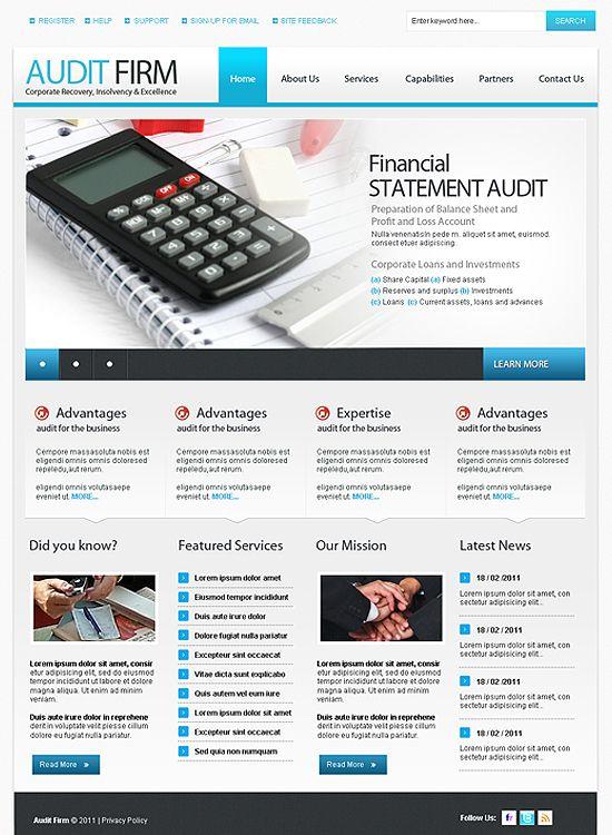 Audit Firm Full Site Templates Pinterest - audit templates