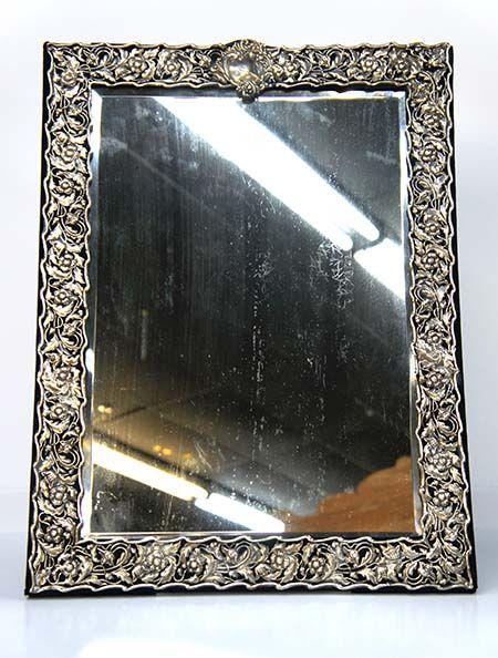 Vintage Mirror With Silver Frame Stunning Vintage Mirror Trimmed With Sterling Silver Frame In Leaf Design Large Standing Mirror Mirror Trim Standing Mirror