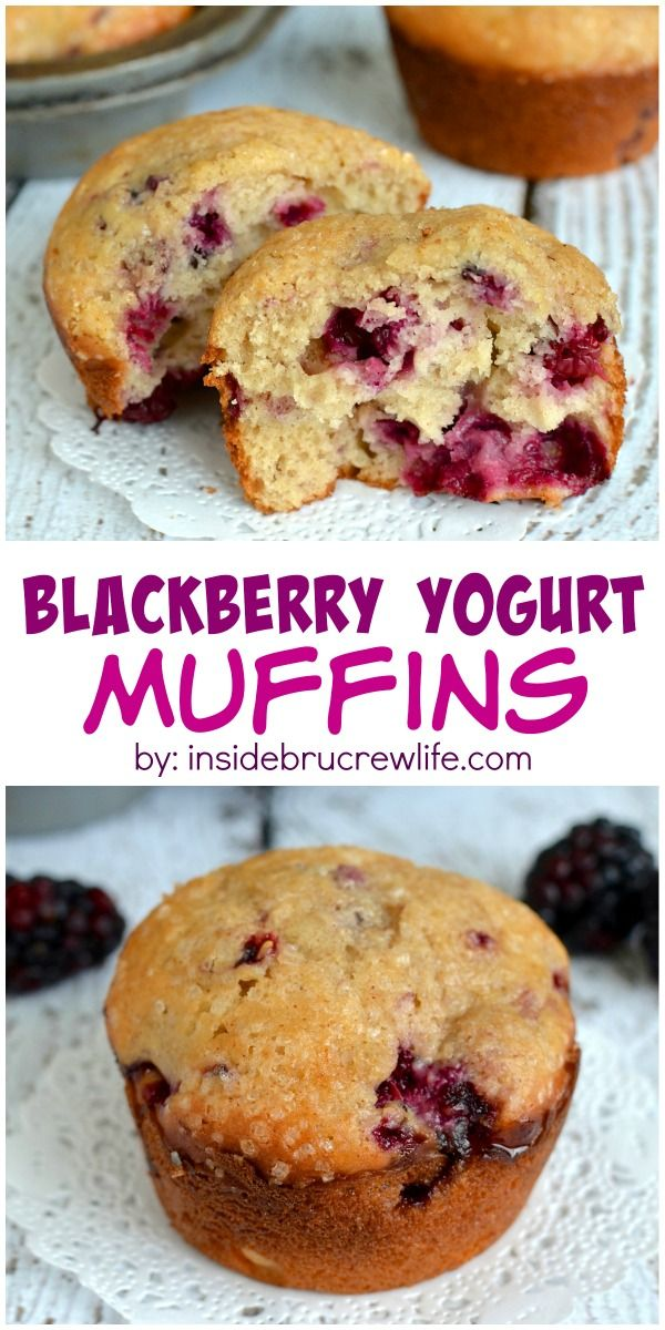These Light And Fluffy Blackberry Muffins Are A Little Bit Healthier When Made With Yogurt Great For Break Yogurt Muffins Blackberry Muffin Blackberry Yogurt