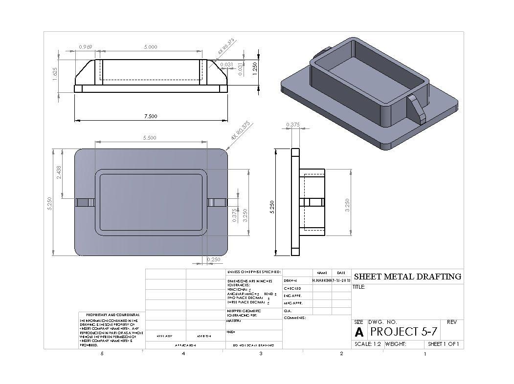 Sheet Metal W Ribs Sheet Metal Drawing Sheet Metal Isometric Drawing