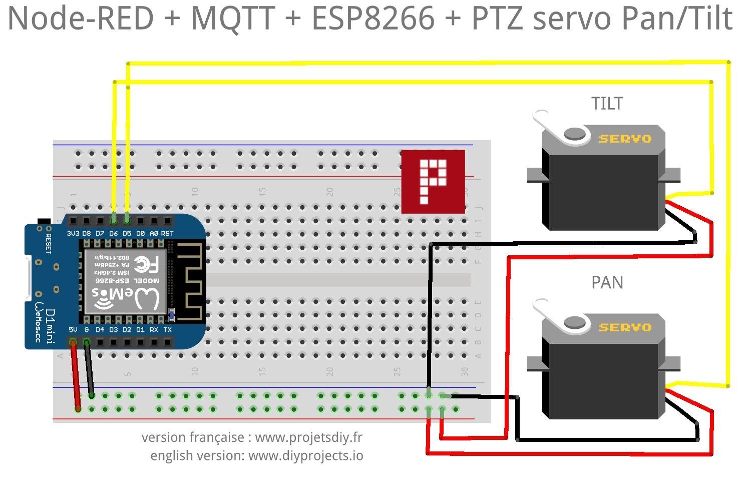 Node-RED + MQTT + ESP8266: how to drive an articulated PTZ