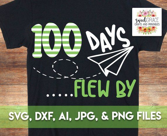 100 Days SVG, 100th Day Of School svg, 100 Days Flew By svg, Boys 100 Days, Paper Plane 100 Days of School Shirt Design, Cricut Download.