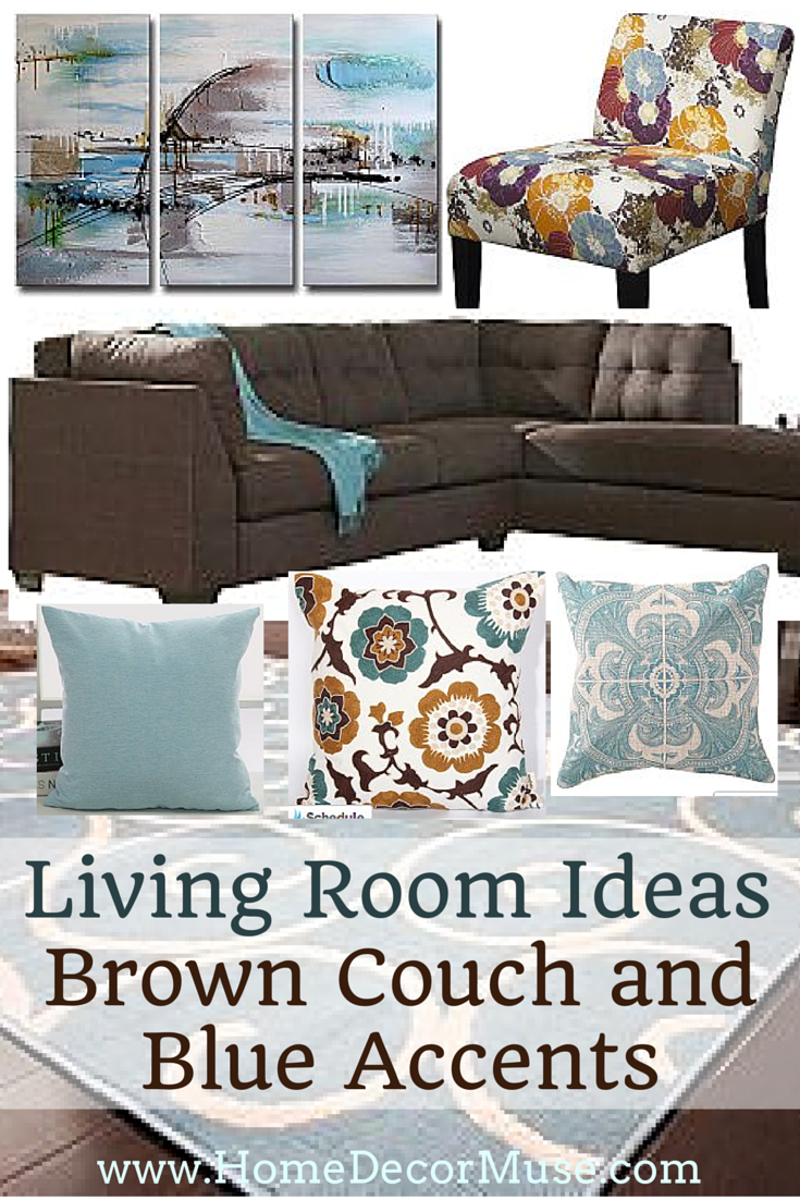 Brown Living Room With Blue Accents The Best Paint Color For Sectional Sofa Plus Inspiration House Couch And Ideas