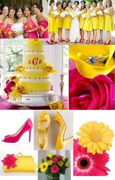 Hot Pink And Yellow Wedding Red White Theme