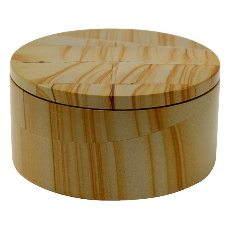 Eirenne Collection Circular Keepsake Box - Teak Stone - 5 diam. x 2.75H in. - BX55-TS