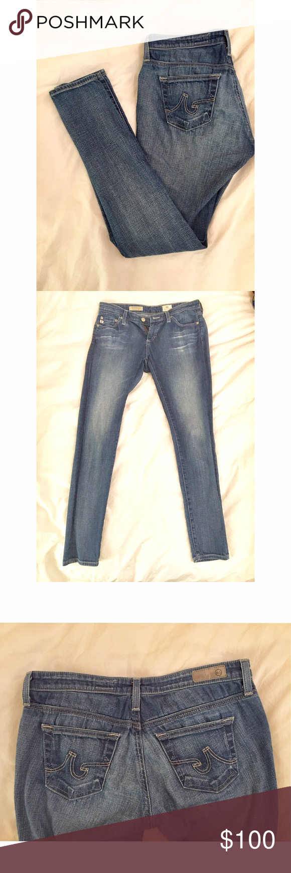 """AG Jeans """"The Legging"""" Jean in Blue Wash Super skinny ankle fit. Incredibly soft, you'll love wearing it. Only thin with AG jeans is that they get pretty loose after one wear, so you may need to use a belt on multiple wears (or wash your jeans after every wear). 98% cotton / 2% polyurethane. AG Adriano Goldschmied Jeans Skinny"""