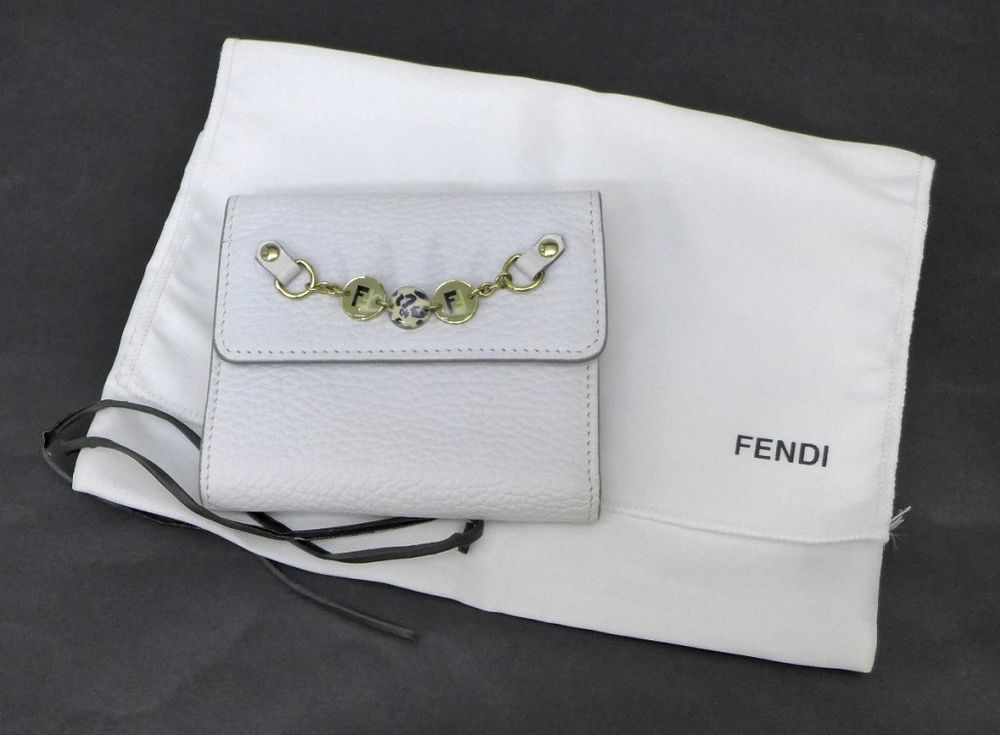 Fendi wallet trifold white leather frame purse authentic