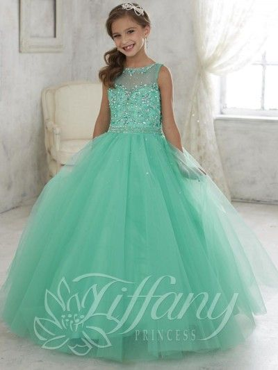 Tiffany Princess 13442 Girls Pageant Dress with Illusion | addi ...