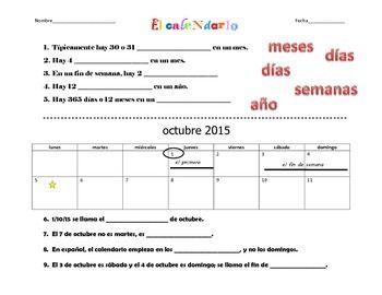 Spanish Calendar - El calendario Worksheet with Vocabulary | Spanish ...