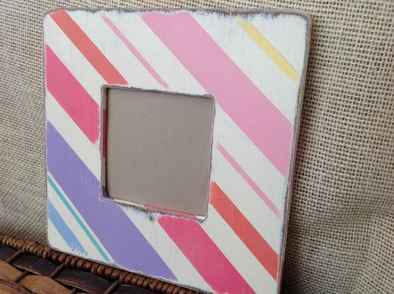 Striped Picture Frame. Spring, Easter. Distressed