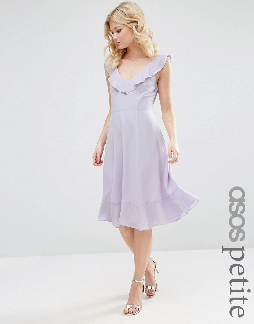 Image 1 of ASOS PETITE Midi Skater Dress with Frill Detail | My ...