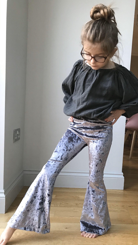 Infant Little Baby Girl Bell-Bottom Ruffle Flare Jeans Denim Leggings Long Pant