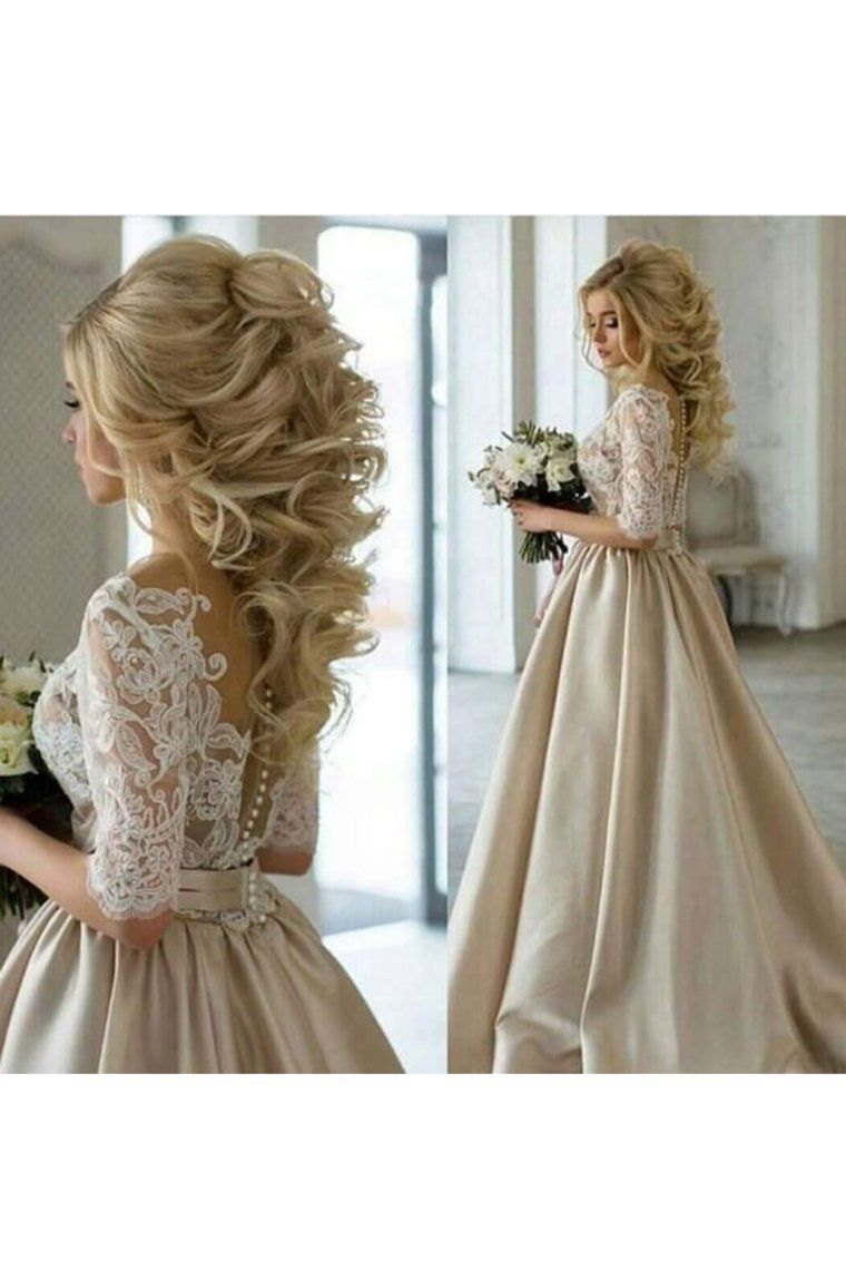 2019 Wedding Dresses A Line Scoop Mid Length Sleeves Satin With