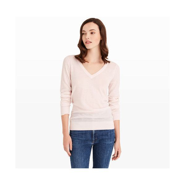 Club Monaco Agnes Back-Block Sweater in Color Pink (150 BRL) ❤ liked on Polyvore featuring tops, sweaters, pink, merino sweater, long sleeve v neck sweater, white long sleeve sweater, pink top and merino wool sweater