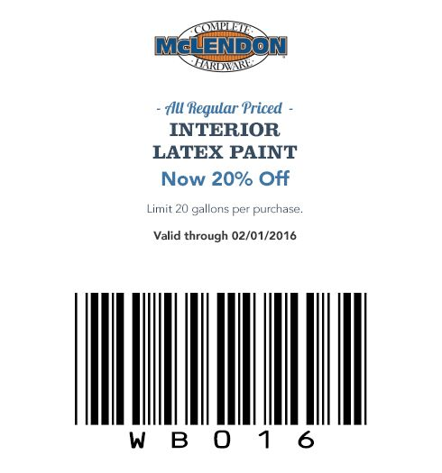 All Regular Priced INTERIOR LATEX PAINT Now 20% Off Limit 20 gallons per purchase.