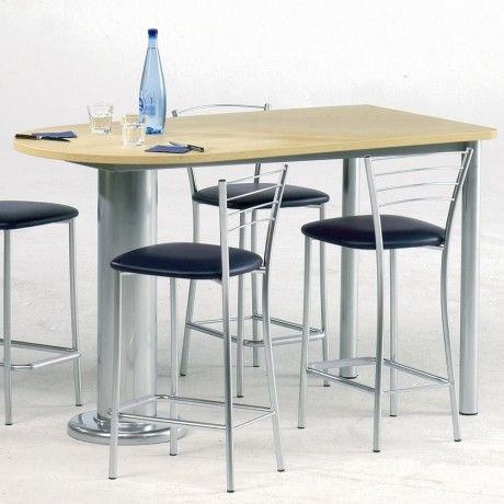 Table De Cuisine En Stratifie Oblong Luros 150 X 80cm Ht 90 Cm