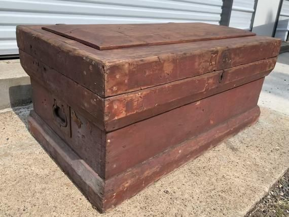Antique Wood Carpenters Tool Chest with 2 Removable Tray Inserts, Vintage Wooden Box, Repurposed Coffee Table, Oxblood Paint Old Chippy