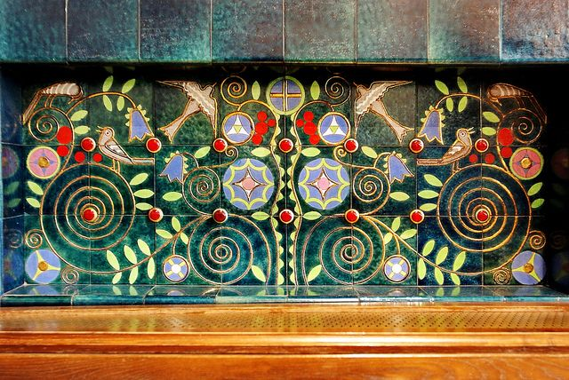 Art Nouveau. Schiffer Villa, 1910    Zsolnay tiles above a basin.  Architect and designer József Vágó.  www.art-nouveau.hu/art.php?menuid=2=107  en.wikipedia.org/wiki/Zsolnay      http://www.flickr.com/photos/37578663@N02/6636670455/
