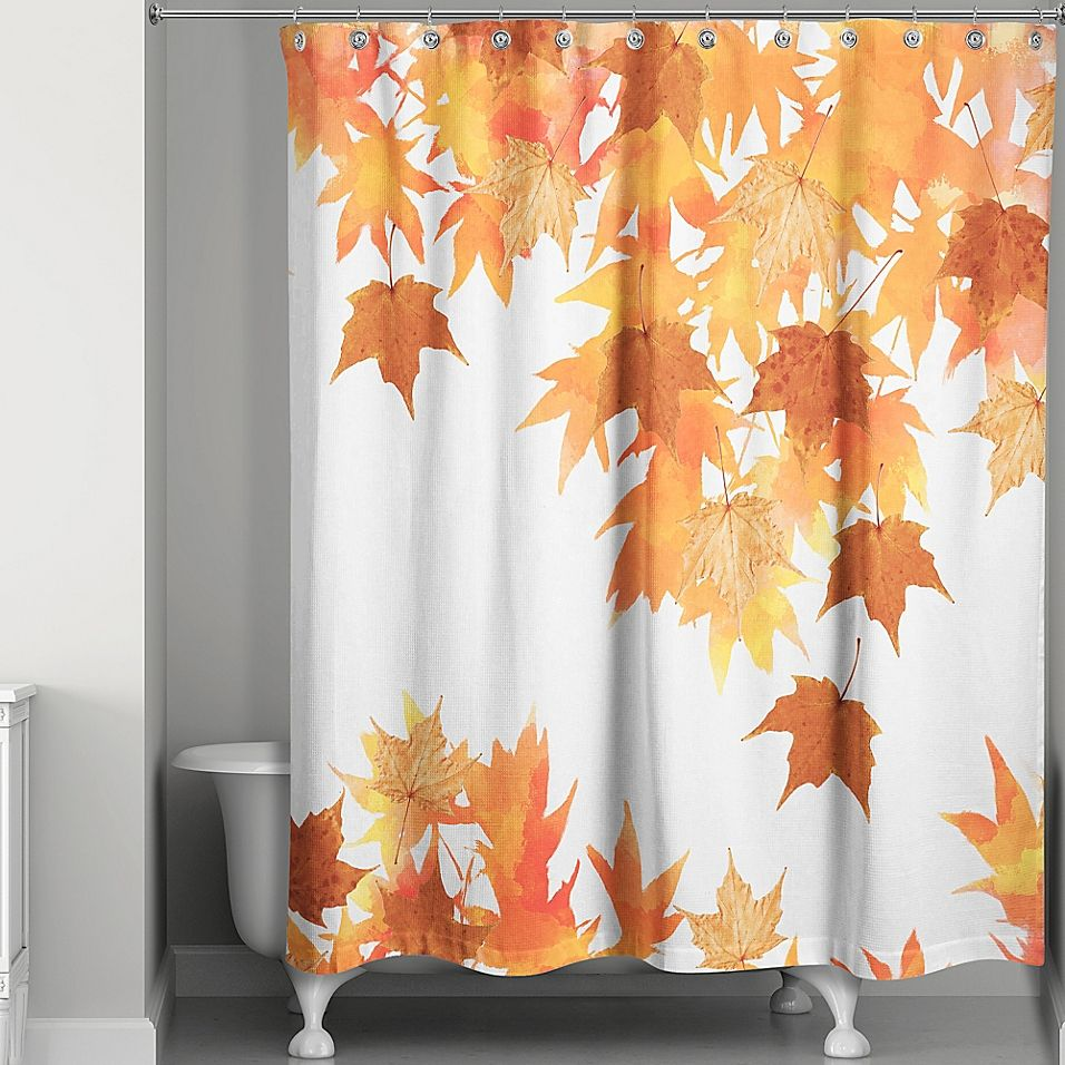 Watercolor Autumn Leaf Collage Shower Curtain Multi Curtains