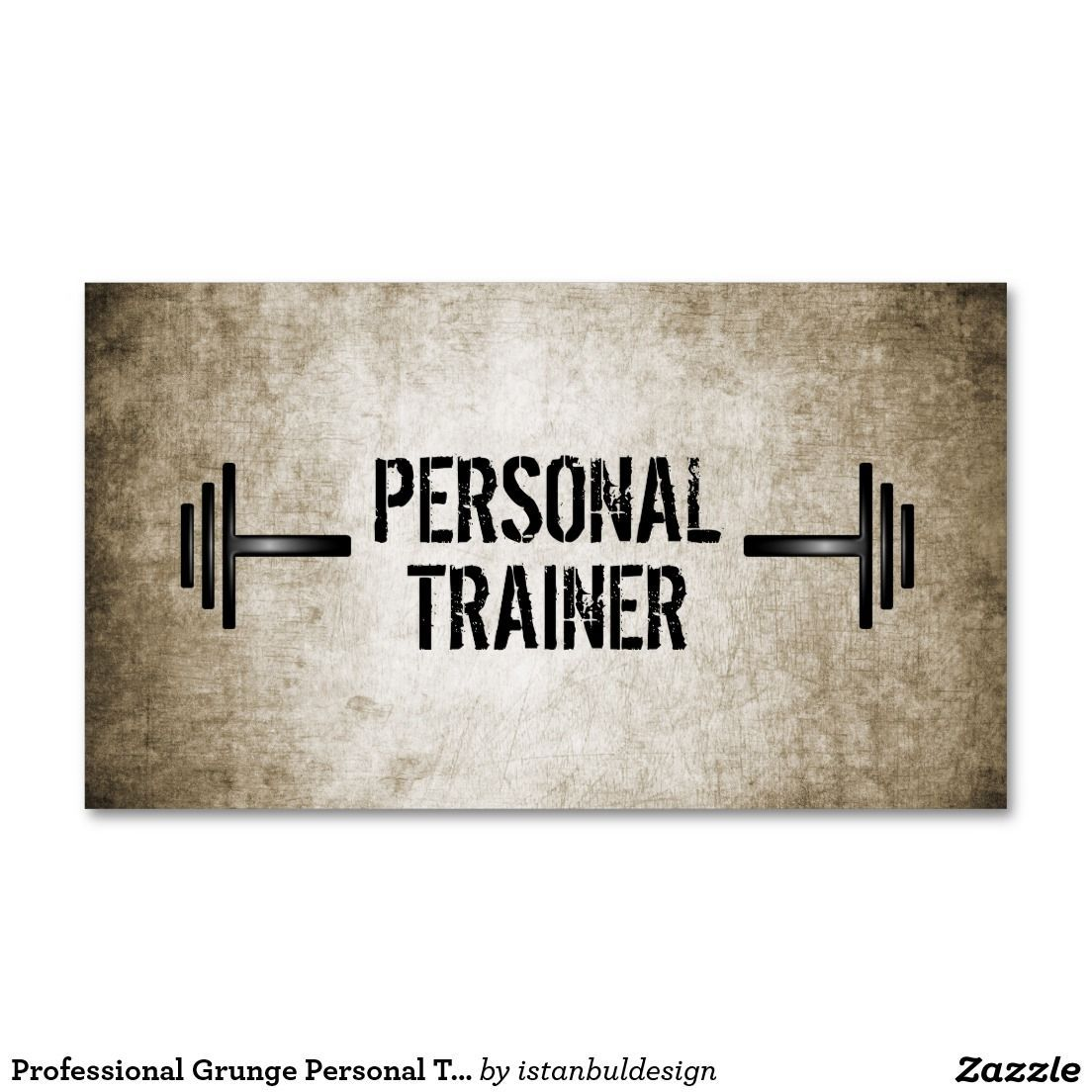 Professional Grunge Personal Trainer Business Card ...