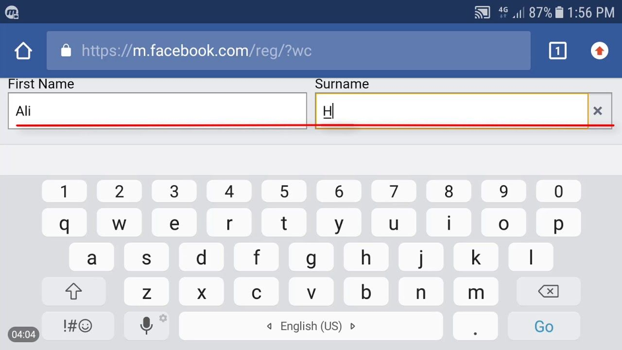 how to create fb account without name