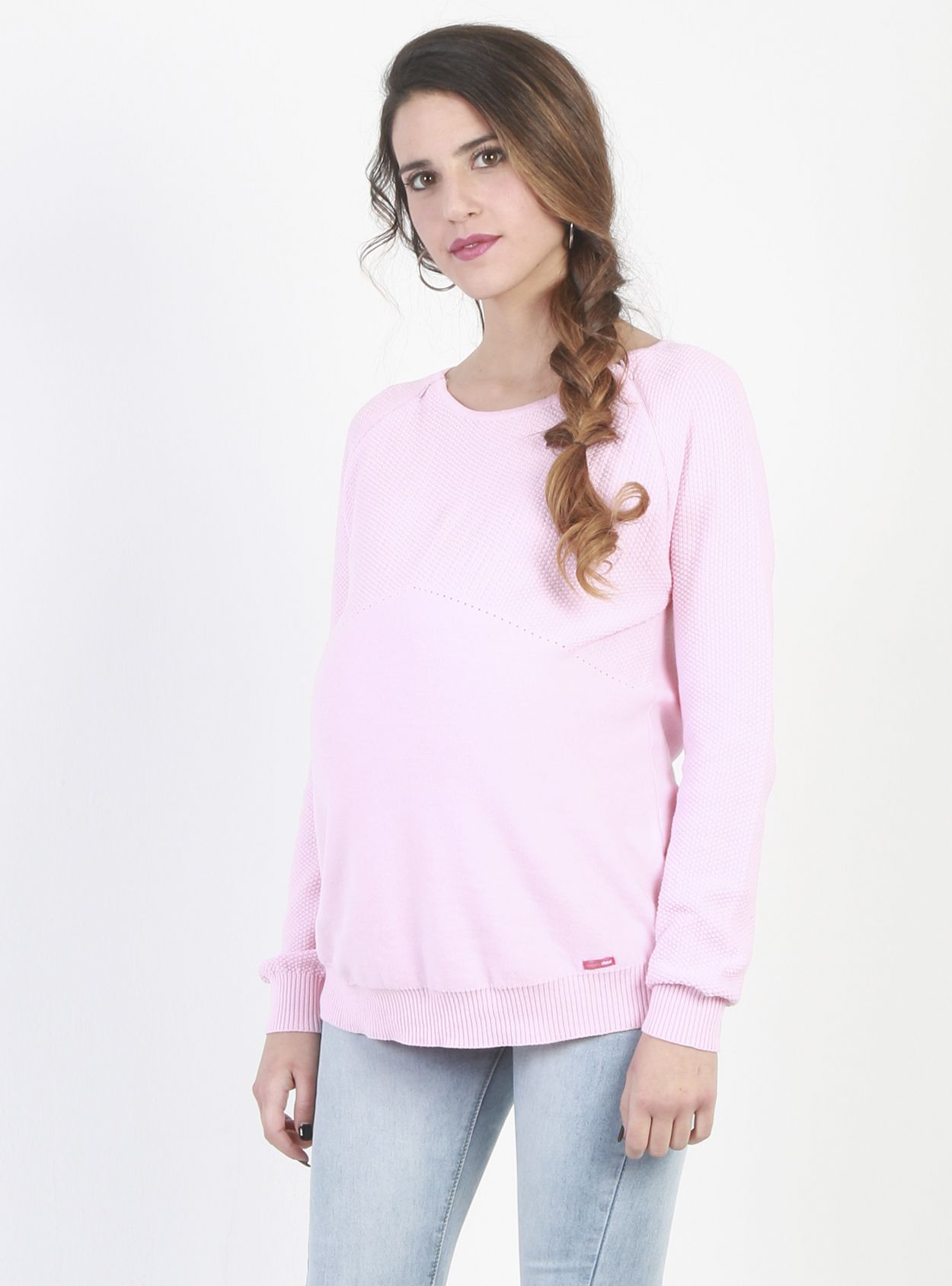 8f8dfc15cf5eb Lightweight, Pink Nursing and Maternity Jumper | Maternity knitwear ...