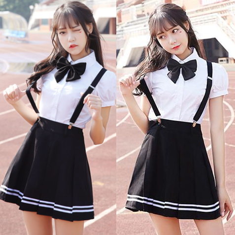 26f2348a14 Students bowknot shirt + strap skirt two-piece SE10446 Coupon code