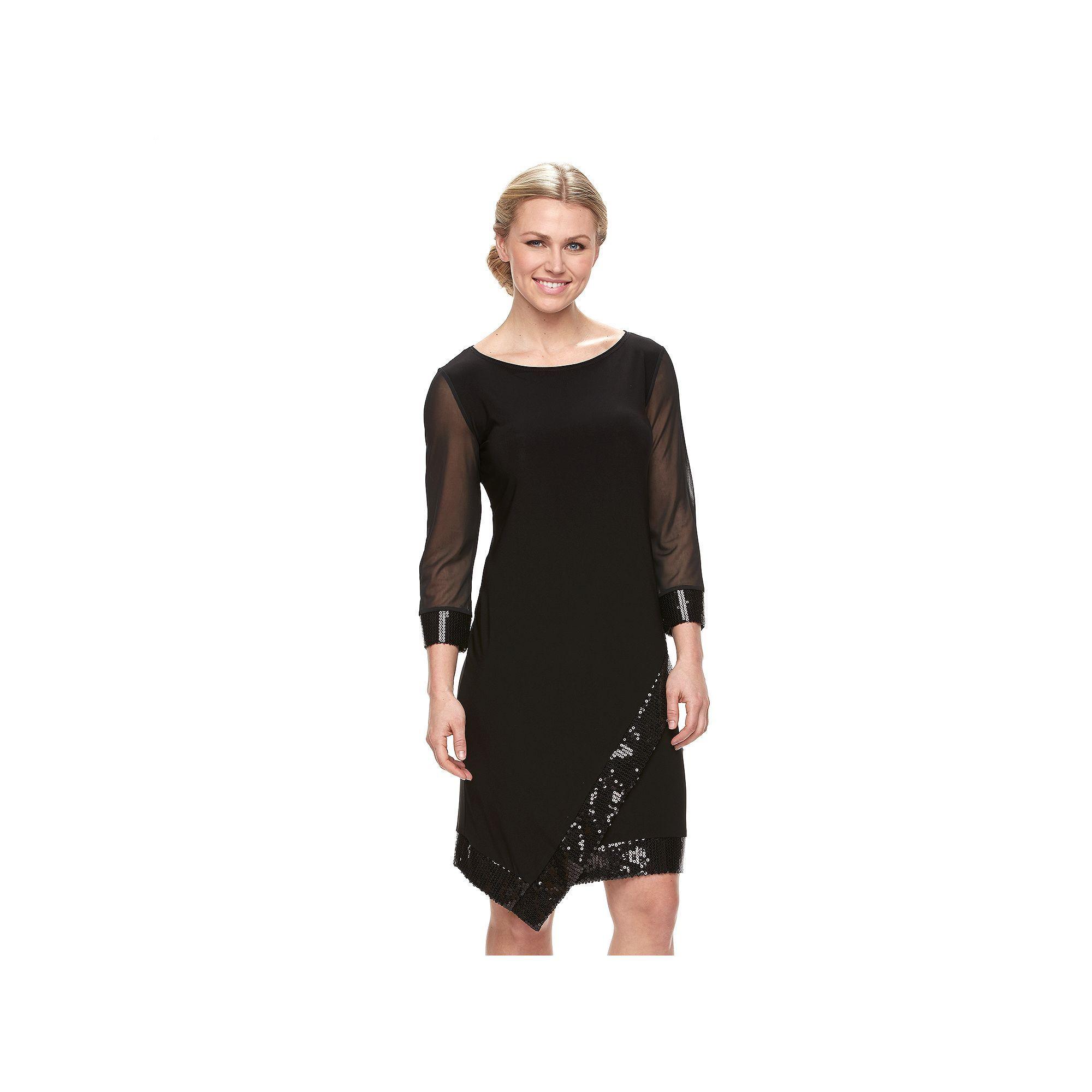 Womenus tiana b asymmetrical sequin shift dress size black
