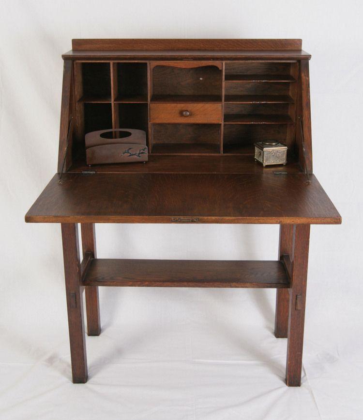 Gustav Stickley Drop Front Desk Asheville Arts And Crafts Stickley Gustav Stickley Antiques Value