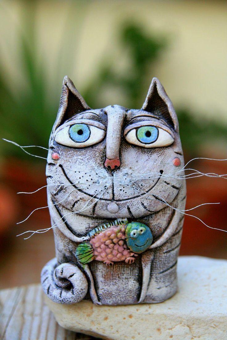 Ceramic cat figurine, Cat lover's gift, Animal sculpture