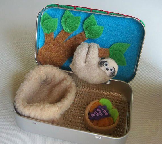 Faultier Altoid Zinn gefülltTier Playset Plushie Geschenk für ihre ruhige Zeit Spielzeug #dollcare