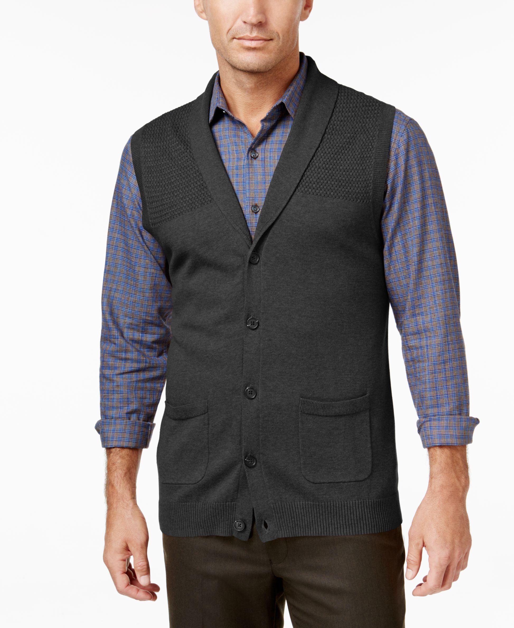 Tasso Elba Men's Shawl-Collar Vest, Only at Macy's | Cardigans For ...
