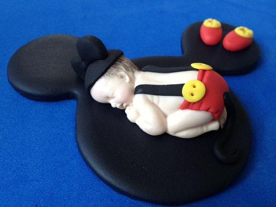 Fondant mickey mouse baby cake topper by evynisscaketopper on Etsy