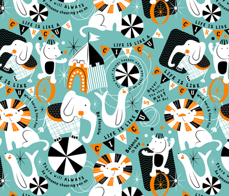 Zirkus. Zirkustiere. Design von sarah_treu auf www.spoonflower.com   Dein Design auf Stoff, Tapete und Geschenkpapier