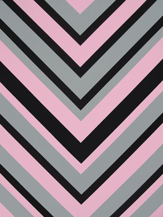 Items similar to Pink and Gray Chevron Pattern Design Modern Girls Room Decor Chevron Wall Art 18x24 ORIGINAL Acrylic Painting on Canvas on Etsy