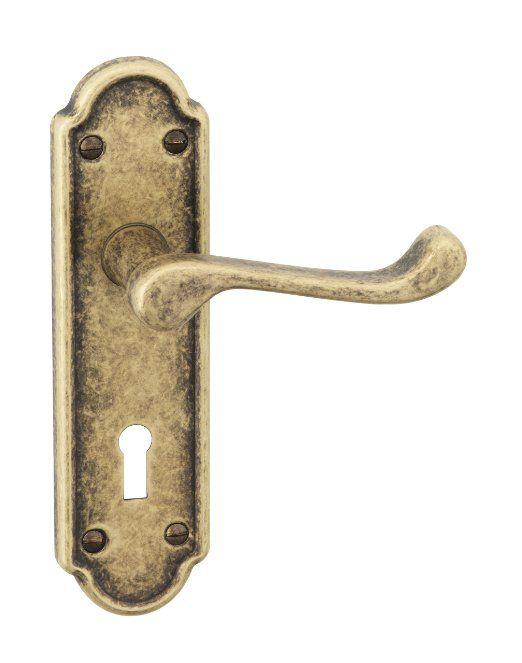 23 Urfic 100 455 Ab Lk Ashworth Antique Copper Lever Lock Door Handle Set Door Handles Bathroom Door Handles Door Handle Sets