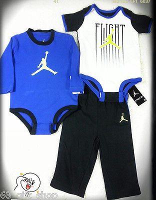 39c378c2e NWT 3 X PC NIKE JORDAN BABY BOY BLUE BODYSUITS ROMPER PANTS SET SZ 6/9 MON