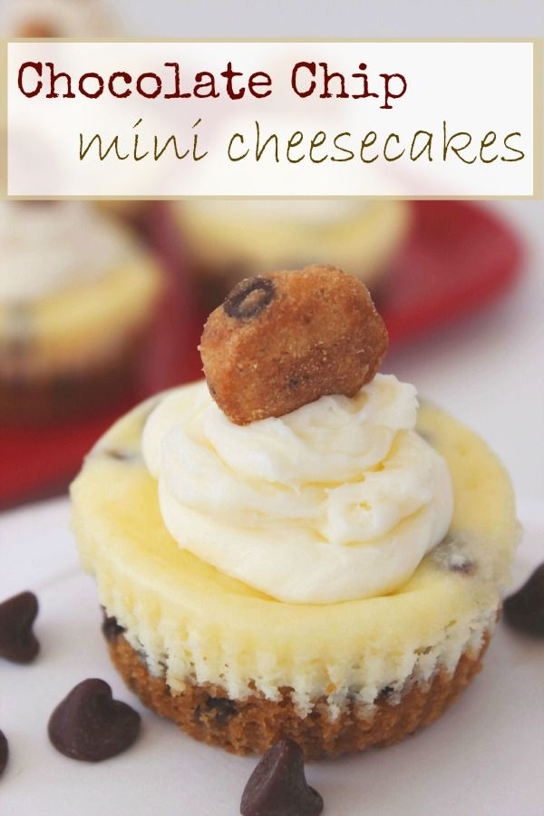 Chocolate Chip Cookie Mini Cheesecakes Recipe Mini Cheesecakes Chocolate Chip Cookies Chocolate Chip Cookie Dough