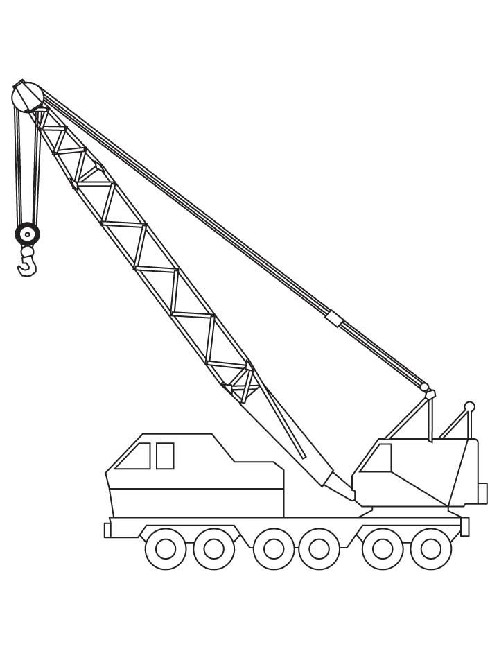 Crane Coloring Pages 2 Kids Vehicles Toys Coloring