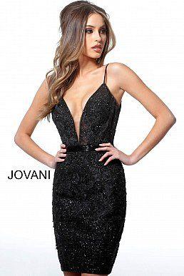 Jovani 1106 | Black short embellished homecoming dress