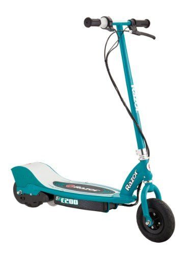 Razor E200 Electric Scooter (Teal, 37 x 16 x 42-Inch) (845423010027) Boasting a high-torque, ultra-quiet chain-driven motor, and a handy twist-grip throttle High-performance motor with speeds up to 12mph Powered by a long lasting rechargeable 24V Seal battery system Features a hand operated rear brake, spring loaded kickstand, and large 8-inch pneumatic tires for a smooth ride Scooter includes with a UL Approved battery charger, and all the tools needed for its light assembly